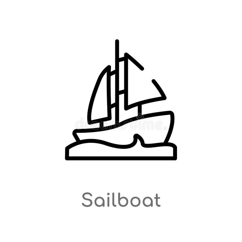 概述风船传染媒介象 被隔绝的黑简单的从船舶概念的线元例证 编辑可能的传染媒介冲程 向量例证