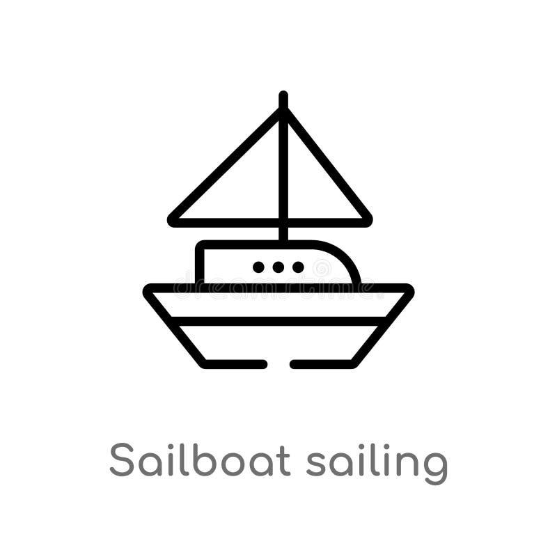 概述风船航行传染媒介象 被隔绝的黑简单的从运输概念的线元例证 编辑可能的传染媒介 库存例证