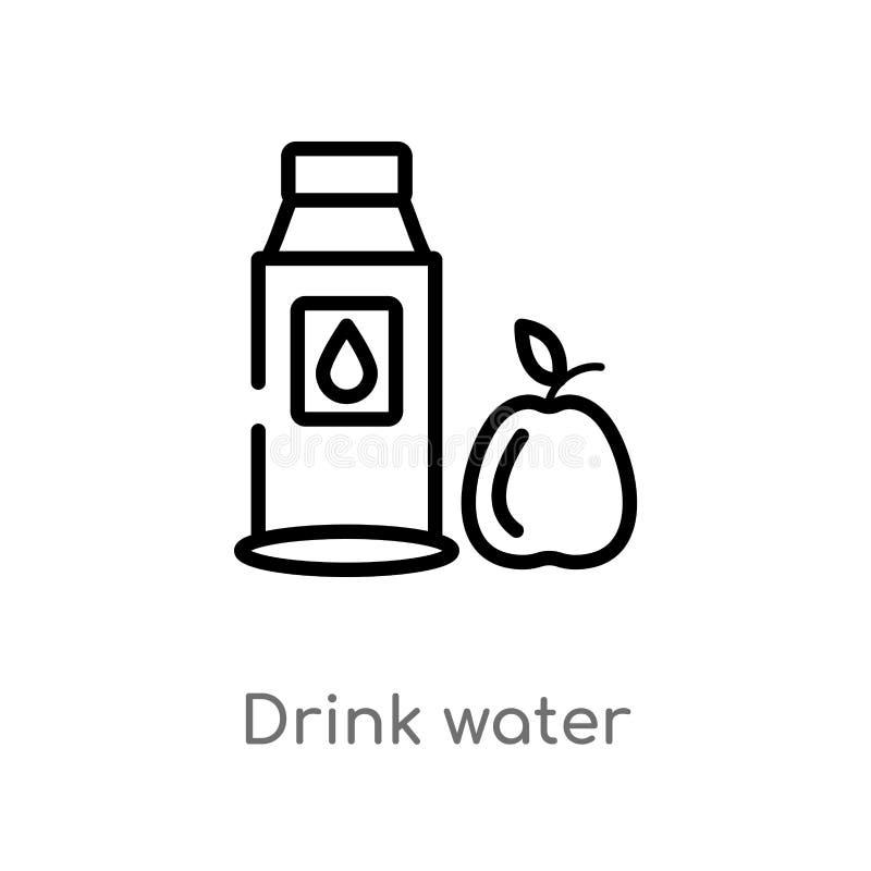 概述饮料水传染媒介象 被隔绝的黑简单的从食物概念的线元例证 编辑可能的传染媒介冲程饮料 库存例证