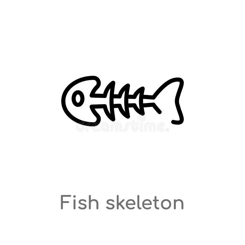 概述鱼最基本的传染媒介象 被隔绝的黑简单的从饮料概念的线元例证 编辑可能的传染媒介冲程 向量例证