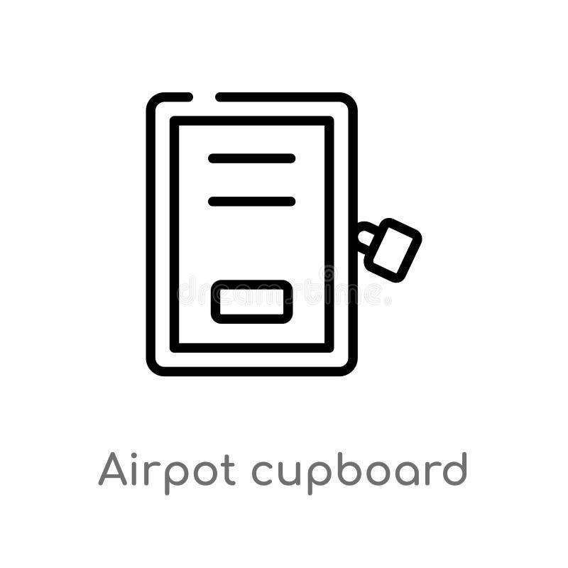 概述airpot碗柜传染媒介象 被隔绝的黑简单的从机场终端概念的线元例证 编辑可能 库存例证