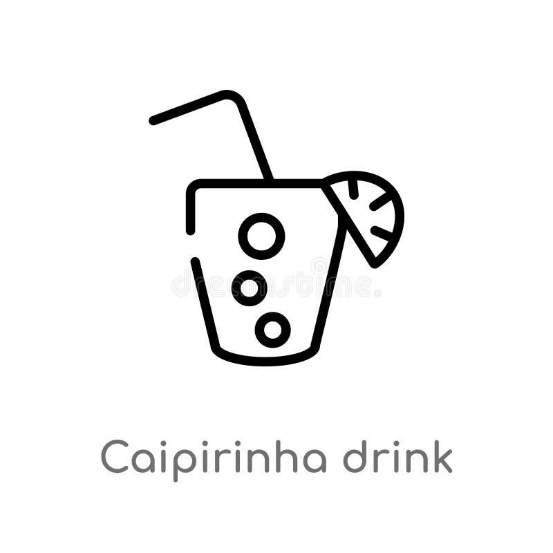 概述caipirinha饮料杯巴西传染媒介象 被隔绝的黑简单的从文化概念的线元例证 向量例证