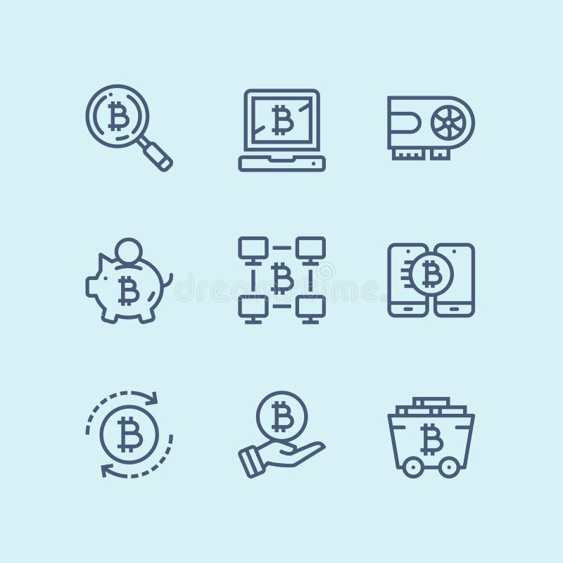 概述Cryptocurrency、blockchain、bitcoin采矿、数字式金钱传染媒介简单的象网的和流动设计组装2 皇族释放例证