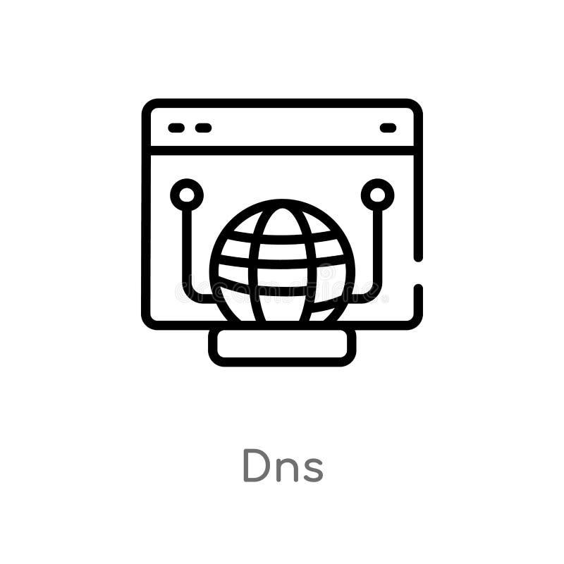 概述dns传染媒介象 被隔绝的黑简单的从网络主持概念的线元例证 编辑可能的传染媒介冲程dns象 库存例证
