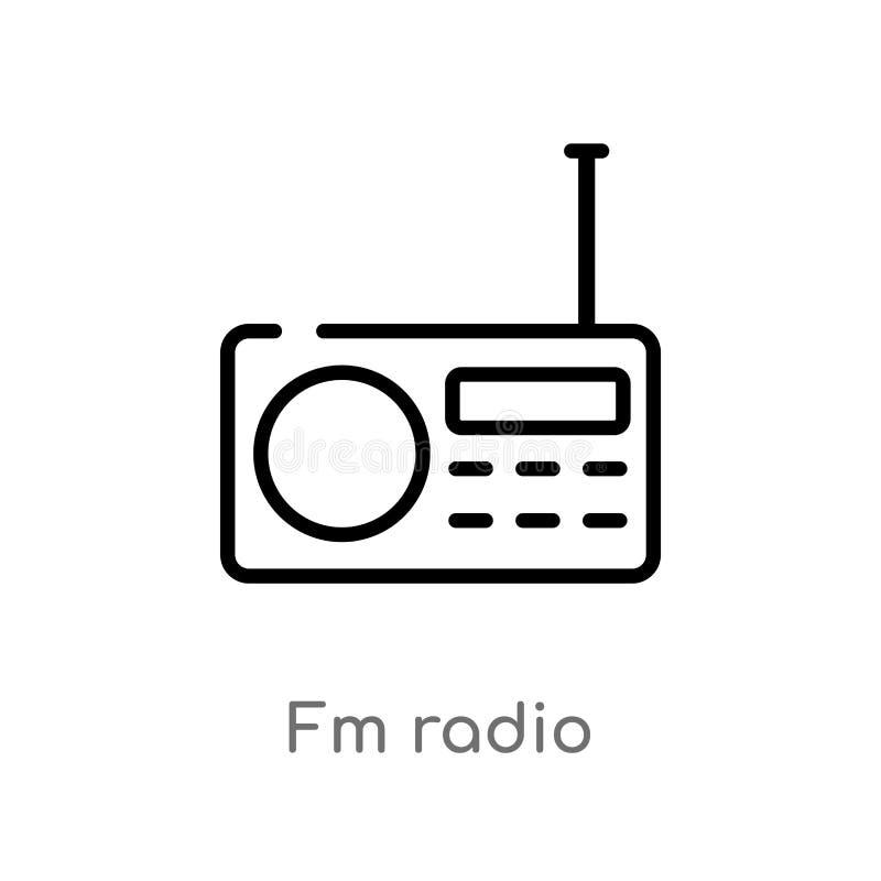 概述fm无线电传染媒介象 被隔绝的黑简单的从硬件概念的线元例证 编辑可能的传染媒介冲程fm 皇族释放例证