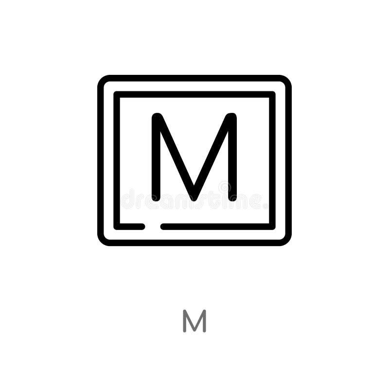 概述m传染媒介象 被隔绝的黑简单的从发信号概念的线元例证 编辑可能的传染媒介冲程m象 向量例证