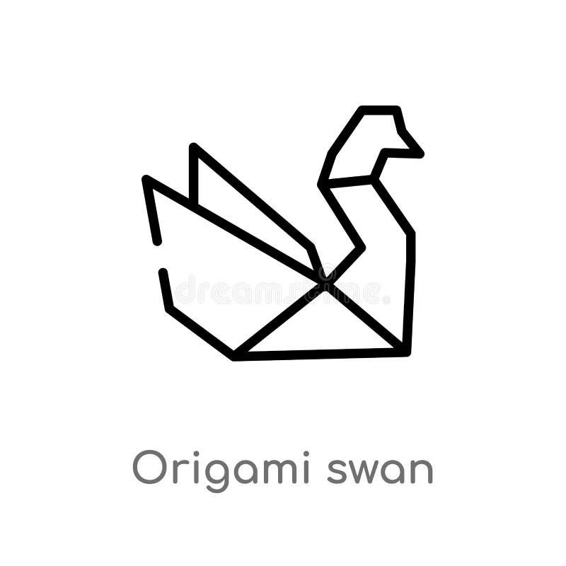 概述origami天鹅传染媒介象 被隔绝的黑简单的从动物概念的线元例证 编辑可能的传染媒介冲程 库存例证