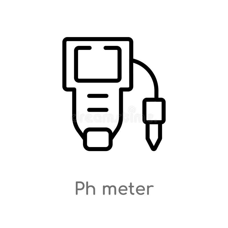 概述PH计传染媒介象 被隔绝的黑简单的从科学概念的线元例证 编辑可能的传染媒介冲程酸碱度 皇族释放例证