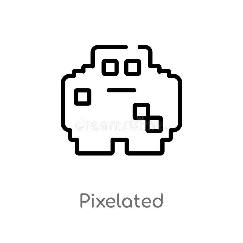 概述pixelated传染媒介象 被隔绝的黑简单的从社会媒介概念的线元例证 编辑可能的传染媒介冲程 向量例证