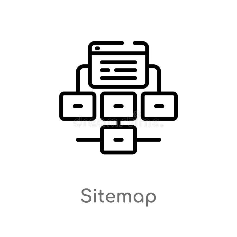 概述sitemap导航象 被隔绝的黑简单的从seo &网概念的线元例证 编辑可能的传染媒介冲程 皇族释放例证