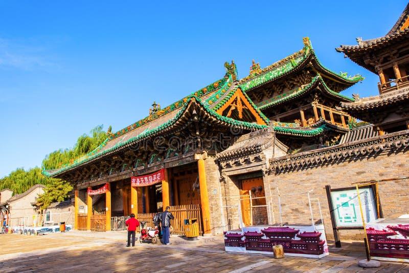 榆次老镇场面城市上帝寺庙大厦和主闸 库存图片