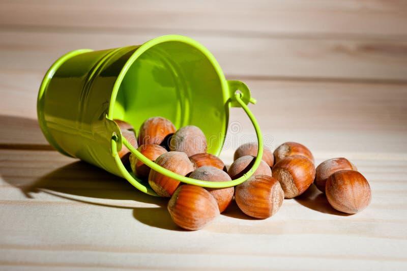 榛子在与一个装饰金属桶的木背景驱散绿色 免版税库存照片