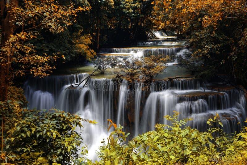 槐Mae Kamin瀑布的主要水平在北碧府,泰国 免版税图库摄影