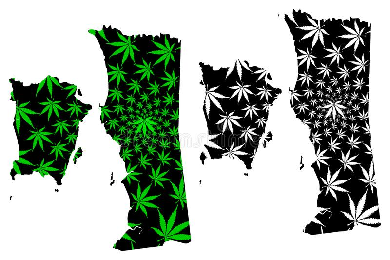 槟榔岛状态和马来西亚,马来西亚地图的联盟的联邦疆土是被设计的大麻叶子绿色和黑的,状态 向量例证