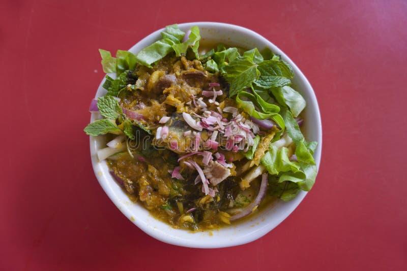 槟榔岛阿萨姆邦laksa,马来西亚人Nyonya食物 免版税库存图片