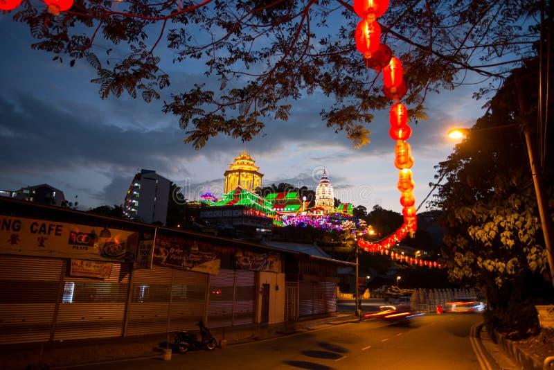 槟榔岛,马来西亚2月17日2016年:Kek Lok Si寺庙装饰红色 图库摄影