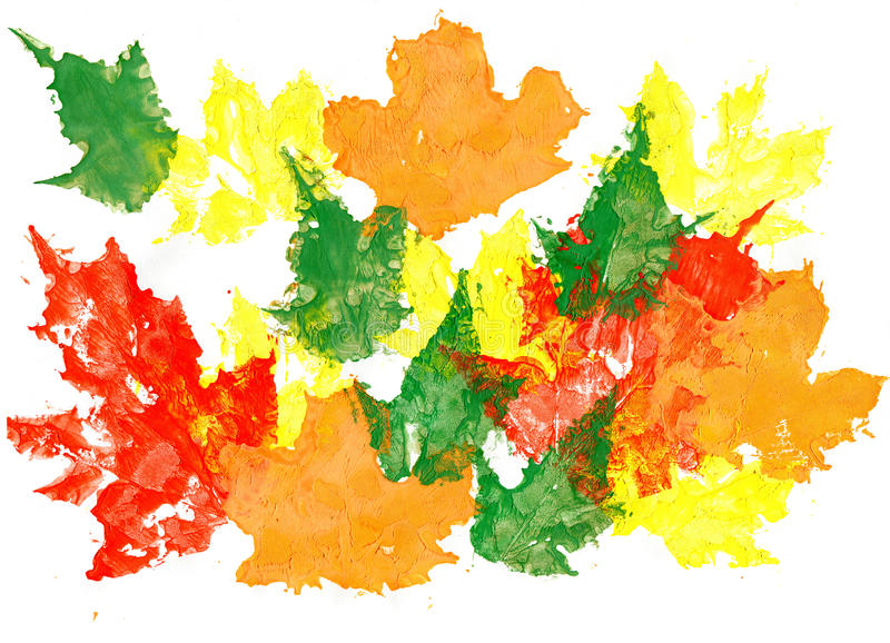 槭树叶子画与水彩, 手拉的设计元素 免版税图库摄影