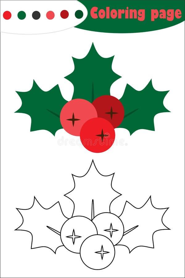 槲寄生在动画片样式的莓果霍莉,圣诞节着色页,教育孩子的发展的,孩子presch纸比赛 库存例证