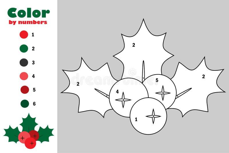槲寄生莓果霍莉动画片样式,由数字,圣诞节教育孩子的发展的,上色pag纸比赛的颜色 库存例证