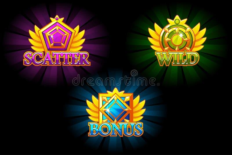 槽孔象 奖金,消散和狂放 导航五颜六色的首饰石头 与宝石的奖 赌博娱乐场和UI的比赛财产 向量例证