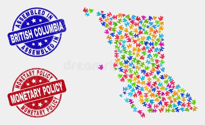 模块不列颠哥伦比亚省地图和抓被装配的和货币政策封印 向量例证
