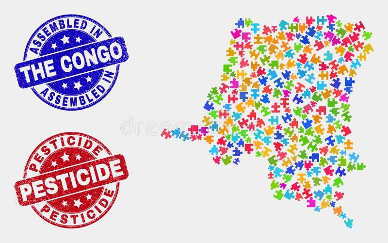 模块刚果民主共和国地图和抓被装配的和杀虫剂邮票 向量例证