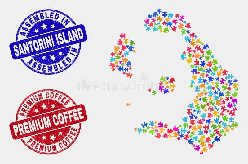 模块圣托里尼海岛地图和抓被装配的和优质咖啡邮票封印 向量例证