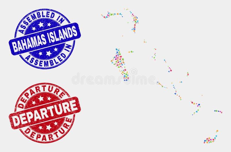 模块巴哈马海岛映射和抓被装配的和离开封印 向量例证