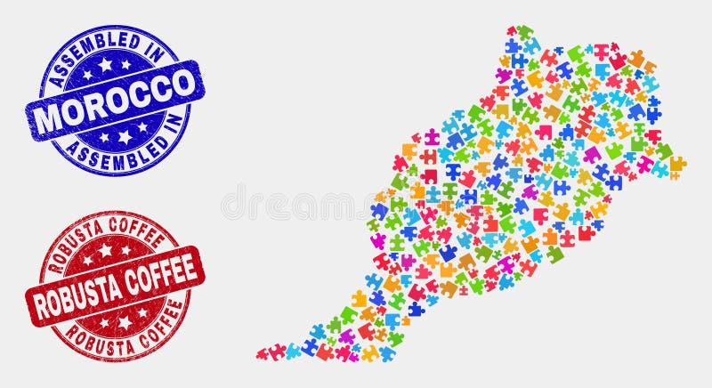 模块摩洛哥地图和抓被装配的和粗粒咖啡邮票封印 向量例证
