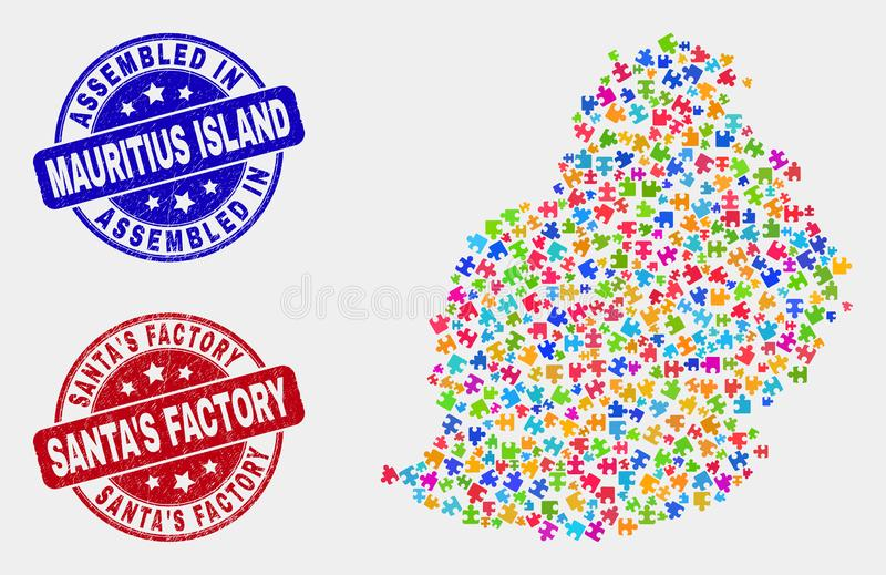 模块毛里求斯海岛地图和困厄被装配的和圣诞老人的工厂水印 皇族释放例证