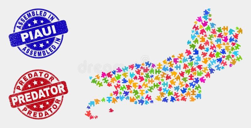 模块皮奥伊状态地图和难看的东西被装配的和食肉动物的邮票 向量例证