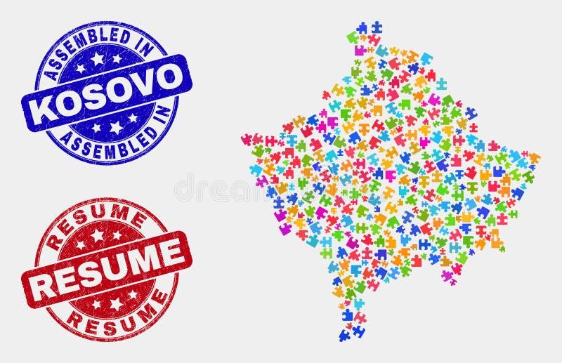 模块科索沃地图和难看的东西被装配的和简历封印 皇族释放例证