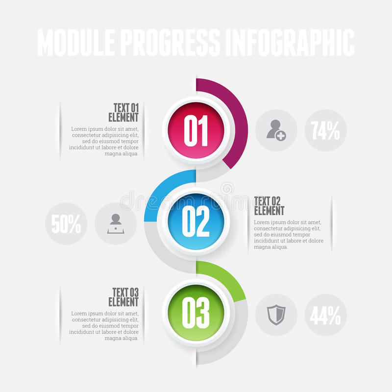 模块进展Infographic 向量例证
