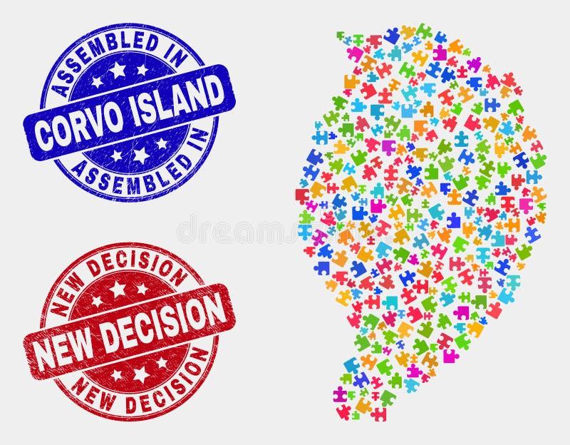 模块Corvo海岛地图和困厄被装配的和新的决定水印 皇族释放例证