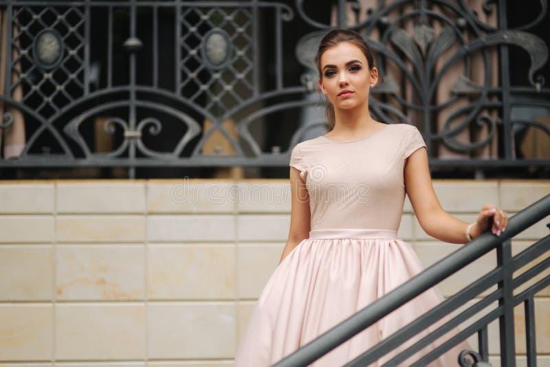 模型与在粉末颜色礼服的深色的头发和与晚上构成 免版税库存图片