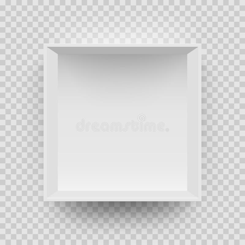 模型3D顶视图的空的白色箱子嘲笑与阴影 传染媒介被隔绝的空白 库存例证