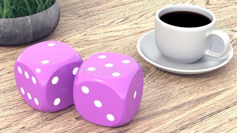 模子和一杯咖啡在一张木桌上的 3d回报 库存例证