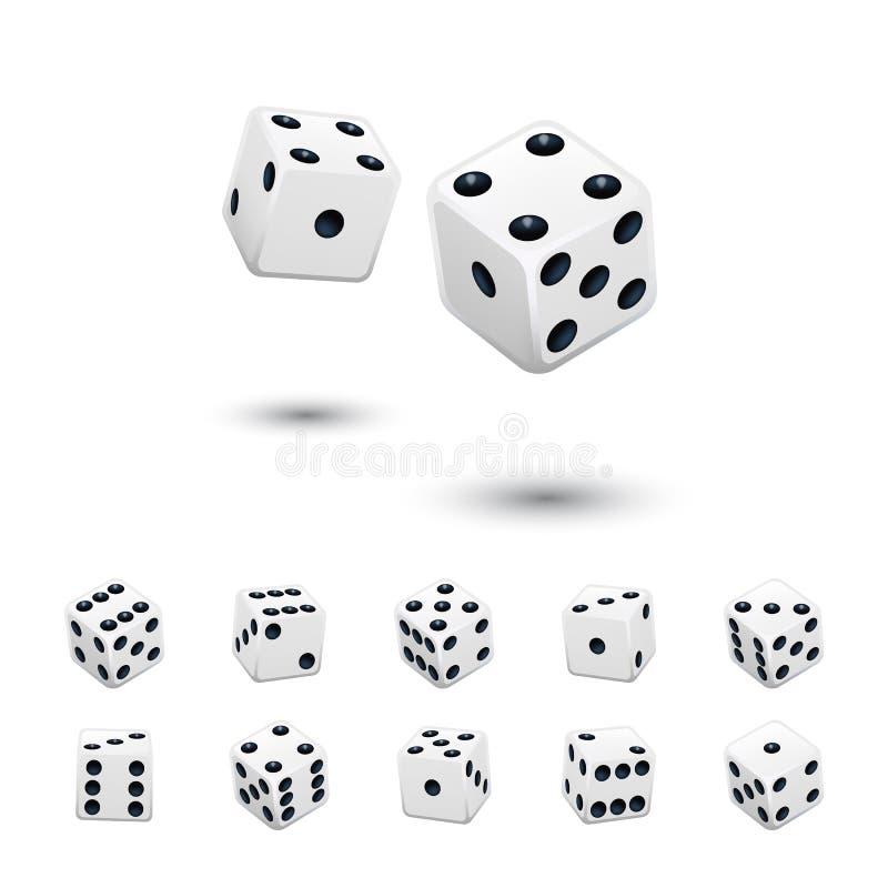 模子比赛元素集 导航用不同的位置被隔绝的白色立方体在白色背景 向量例证