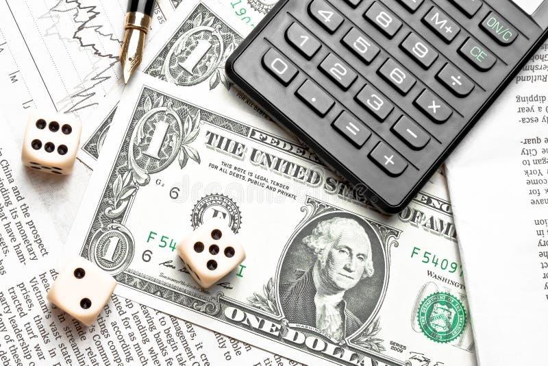 模子看法上面在财政图的在美元和计算器附近 图库摄影