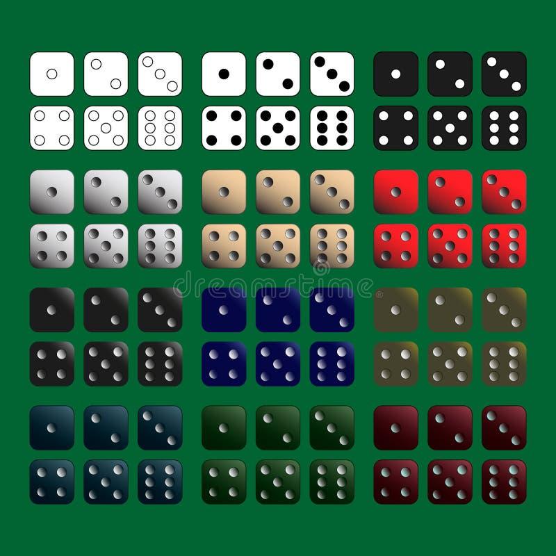 模子集合 不同颜色和图表表现 向量例证