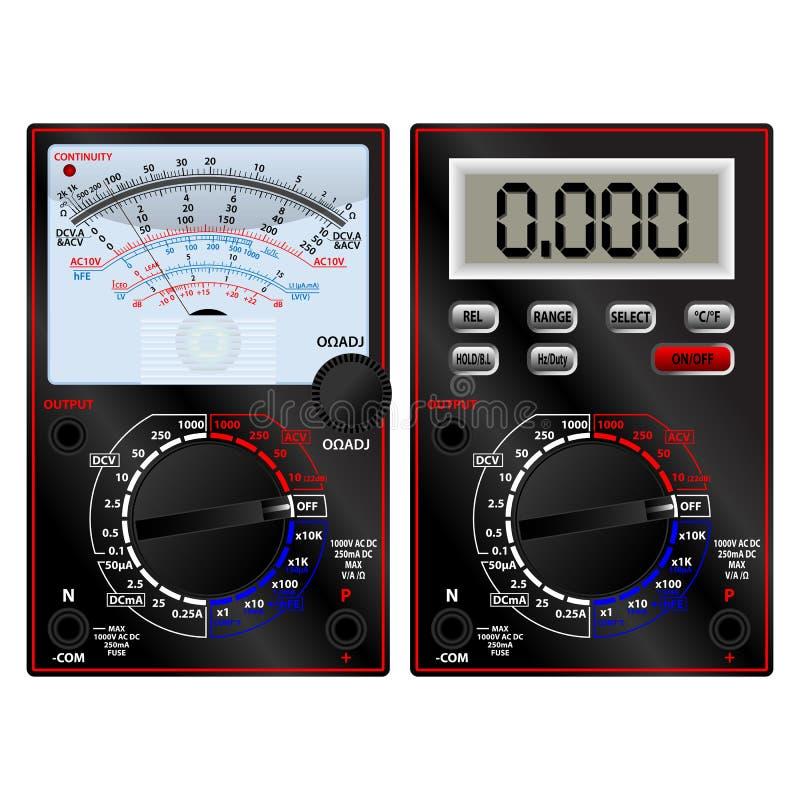 模式和数字式多用电表 向量例证