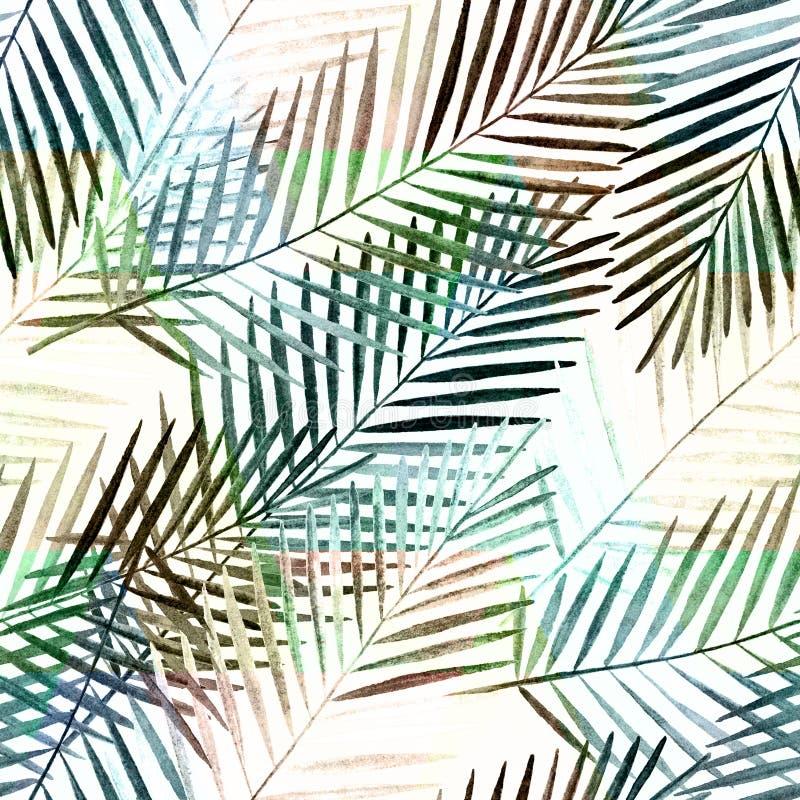 模式无缝热带 在白色背景的水彩棕榈叶 库存例证