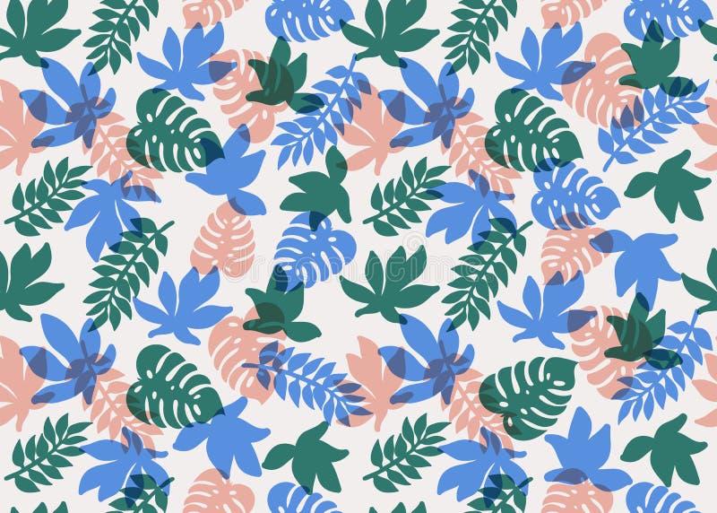 模式无缝热带 热带植物和棕榈叶在珊瑚、小野鸭和蓝色颜色 背景细部图花卉向量 方式 向量例证