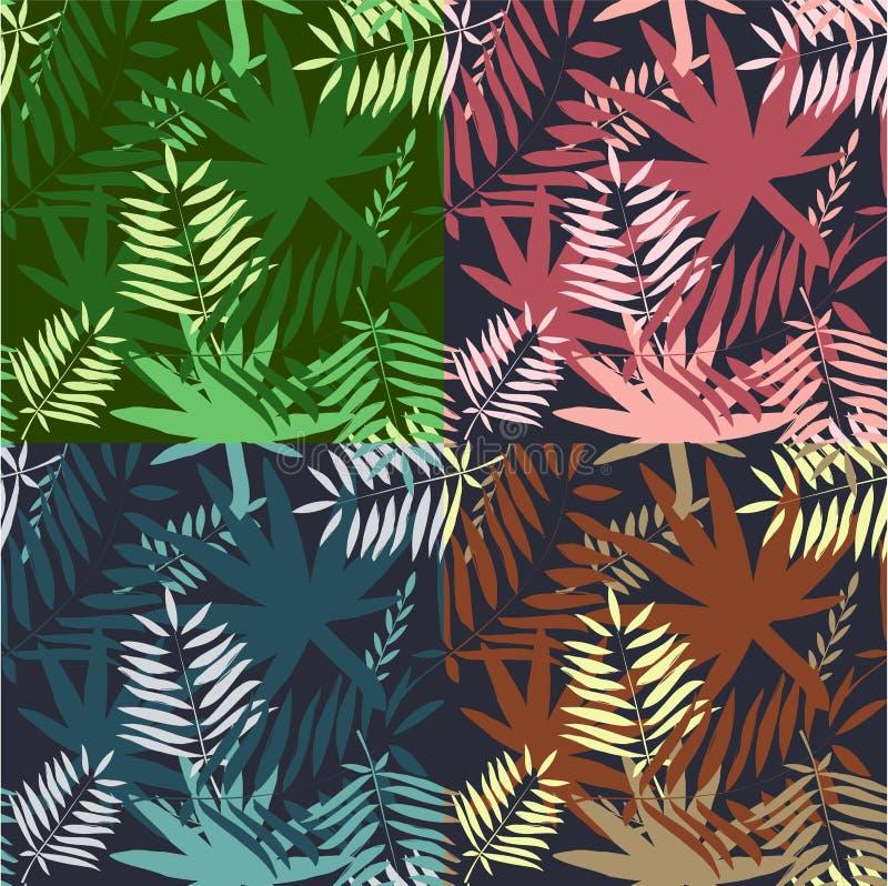 模式无缝热带 留下棕榈树例证 现代图表 免版税图库摄影