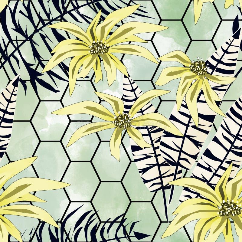 模式无缝热带 黄色花,在浅绿色的背景的黑白叶子 库存例证