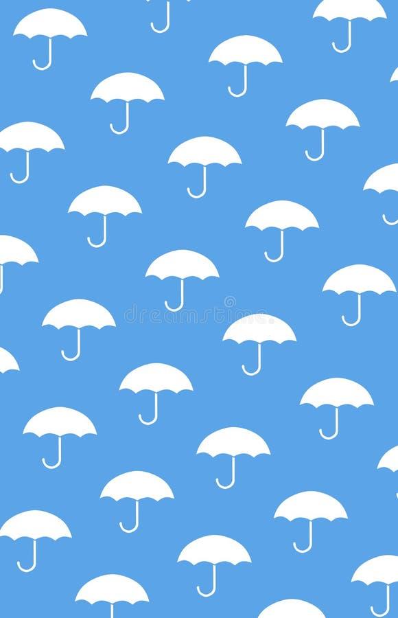 模式无缝的伞 在蓝色背景的白色伞 皇族释放例证