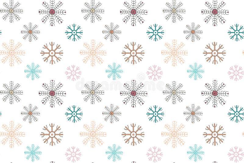 模式无缝的冬天 在白色背景的多彩多姿的雪花 皇族释放例证
