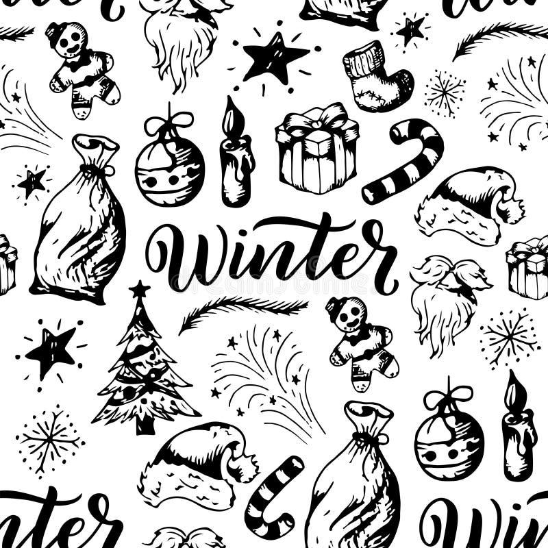 模式无缝的冬天 在白色背景的季节元素s 圣诞节题材减速火箭的纹理 库存例证