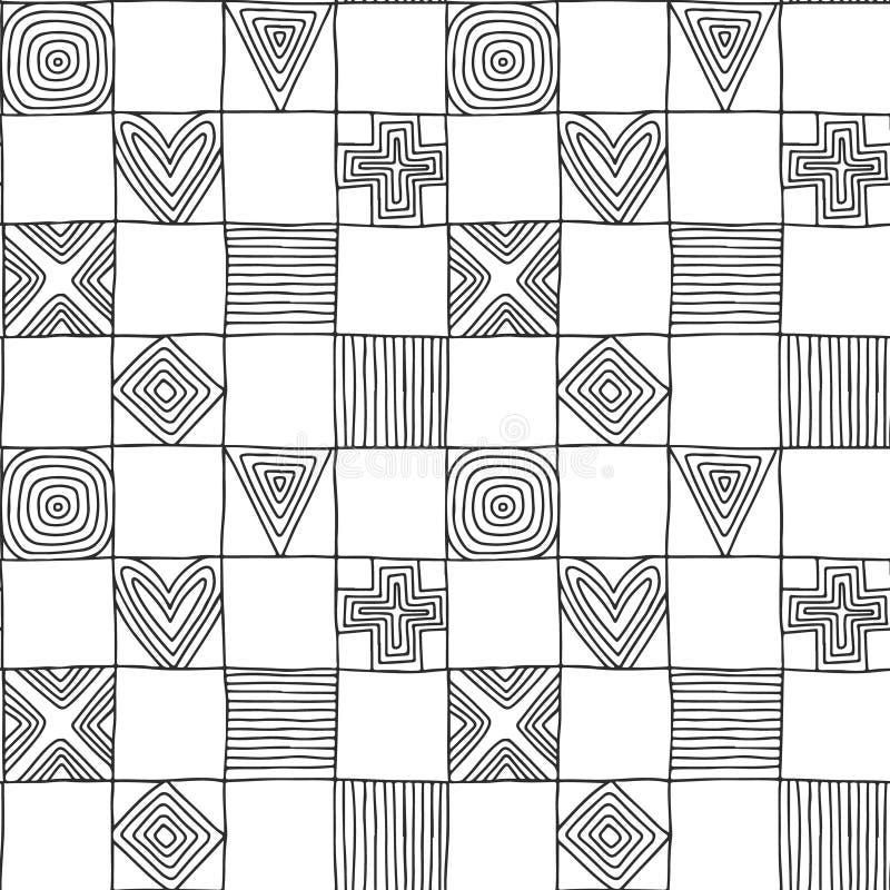 模式无缝的向量 与图,正方形,心脏,三角,十字架,小点的黑白几何手拉的背景, 皇族释放例证