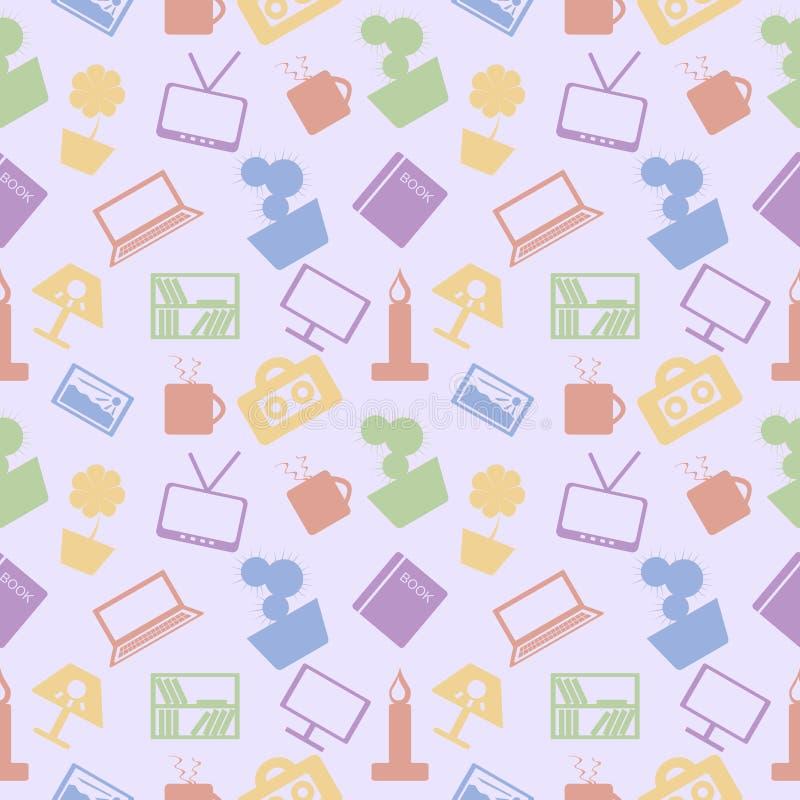 模式无缝的向量 与家庭装饰的五颜六色的元素的混乱淡色背景在蓝色背景的 向量例证